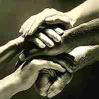 man and woman hands clasped