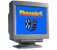 computer monitor with phoenix 5 logo and roll of film on screen